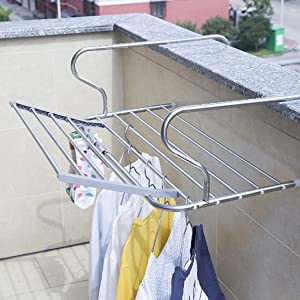 YXZQ Folding Airer Drying Rack Towel Rail Laundry Hanger Clothes Dryer Ideal for Radiators Railing Caravans, Inside Balconies Adjustable Depth Stainless Steel