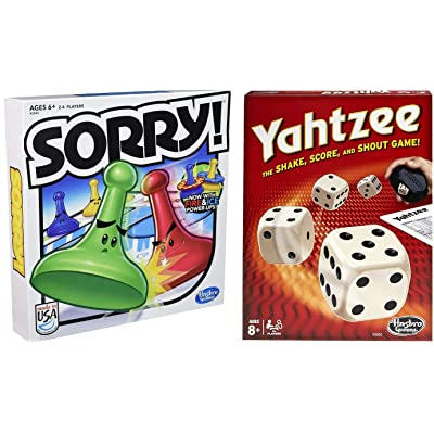 Classic Sorry! & Classic Yahtzee Bundle Parlor Game| Captivated Perfect Players for Adult Young and Old |Every Age Game: Toys & Games