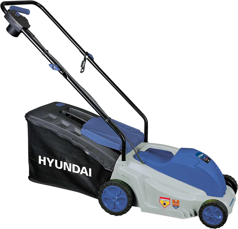 Hyundai 65460 - Cortacésped eléctrico con empuje para el corte de tu césped, 1600 W, 230 V, gris/azul
