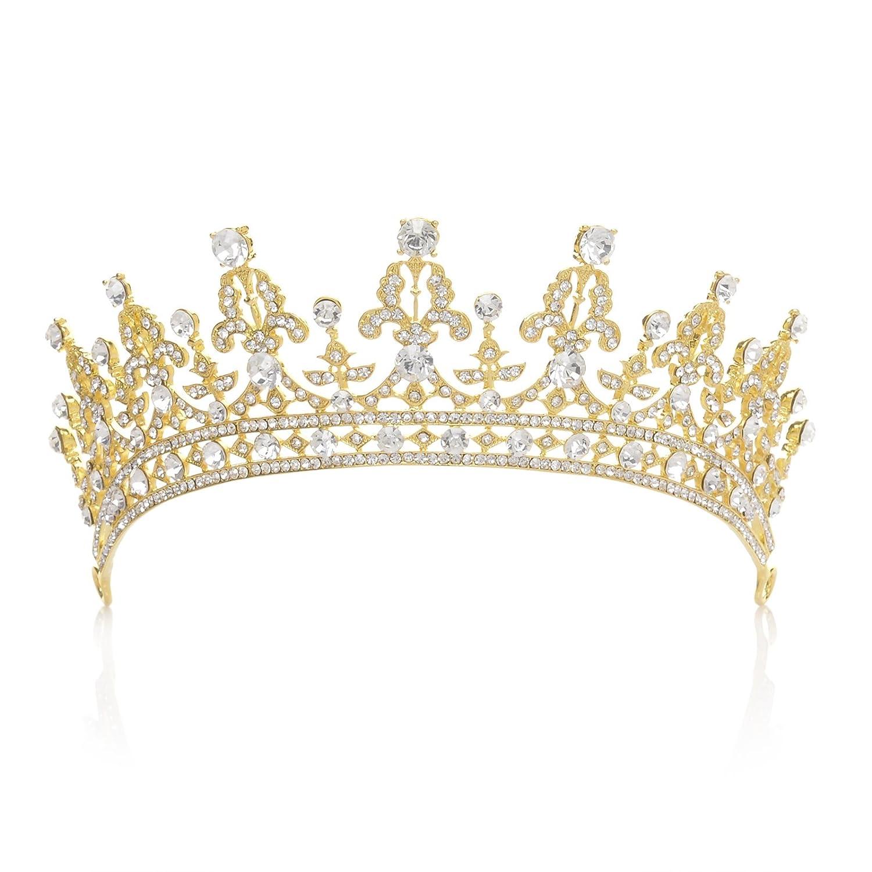 Couronne royale ornée de zircon cubique cristal fabriqué par SWEETV pour femme, un accessoire de cheveux pour la mariée ou pour les concours de beauté SVDHG160021A