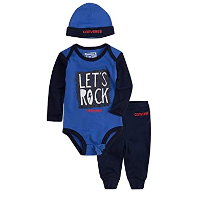 1f4dae0dc Converse Baby Boys Romper Set with Bottoms/Hat Lets Rock 0/3m 3/6m 6/9m or  9/12m (0-3 Months / 60-65cm): Amazon.co.uk: Clothing