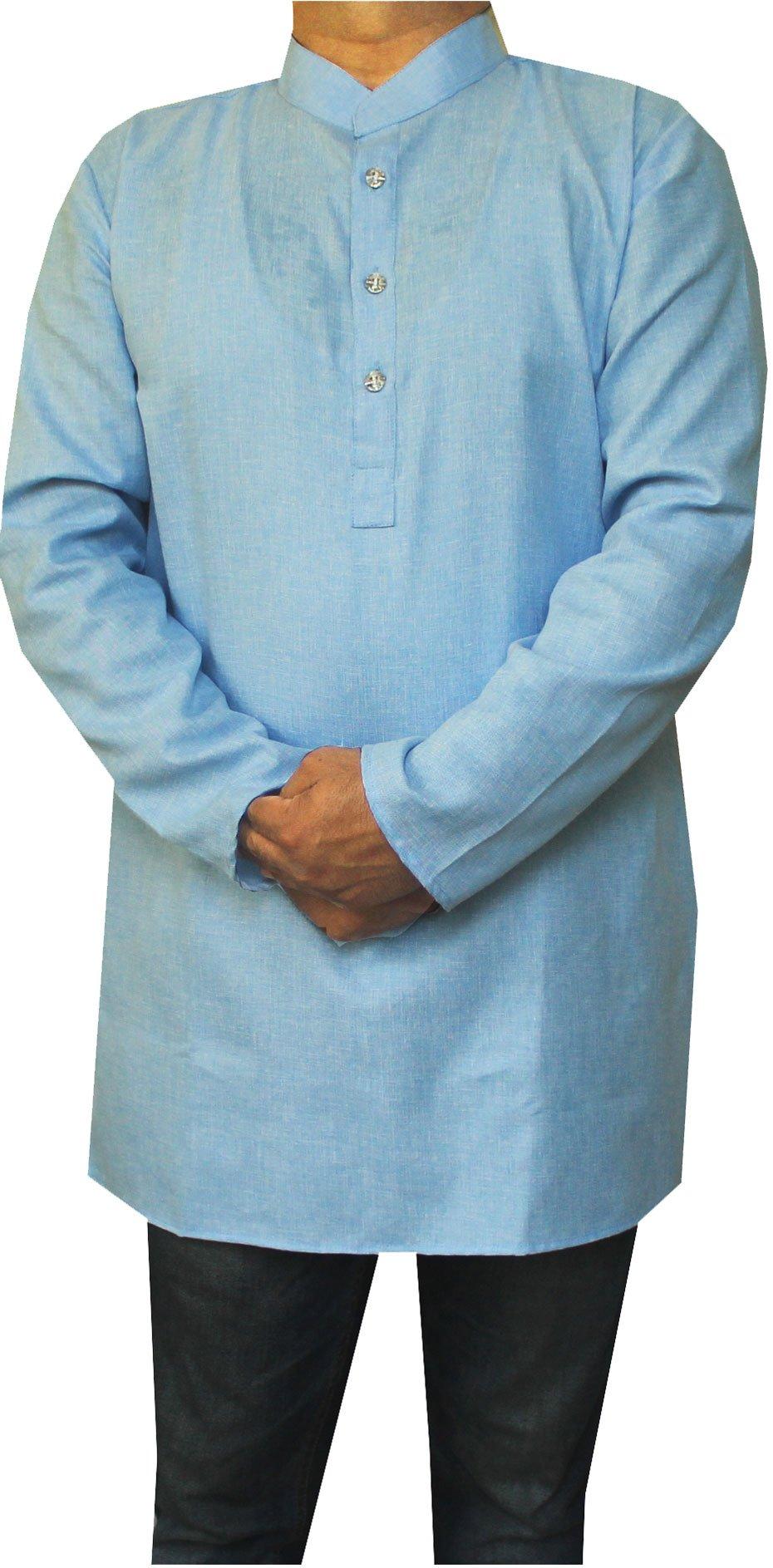 Cotton Dress Mens Short Kurta Shirt India Fashion Clothing (Blue, XL)