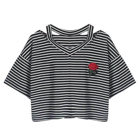 Frau Striped Kurzes Exposed Nabel Hemd EUZeo Frauen Teenager Mädchen Rose  Gestreifte Lose Kurzarm Sommer Crop 9d6e0eef9f