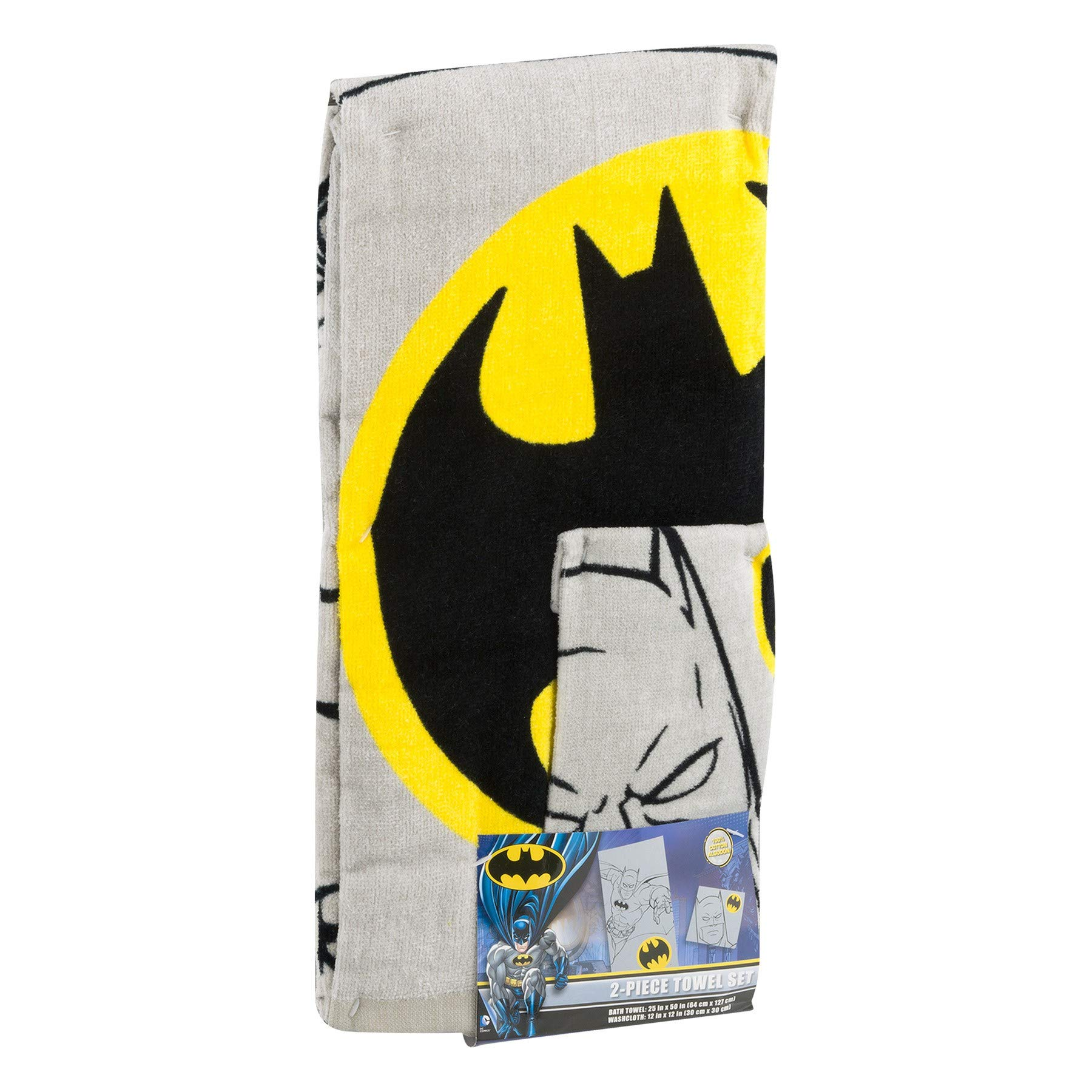 Kids Warehouse DC Comics Batman 2 Piece Bath Wash Set - Includes Bath Towel and Washcloth - 100% Cotton
