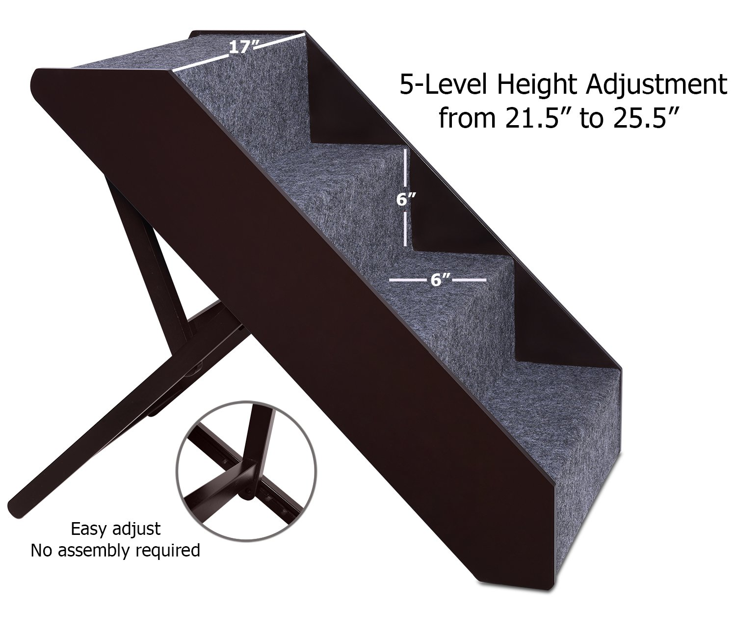 Arf Pets Wood Dog Stairs, 4 Levels Height Adjustment Wide Pet Steps, Foldable by Arf Pets (Image #1)