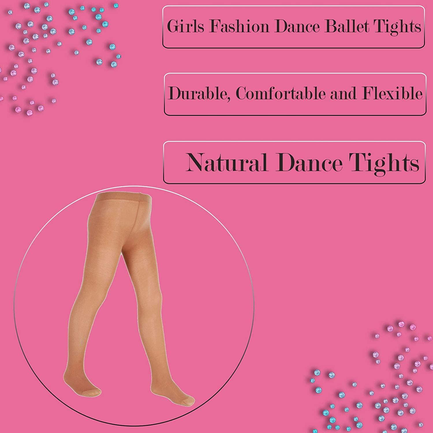 Girls Ballerina Ballet Dance Tights White Pink Toast from Ages 3-14 Years