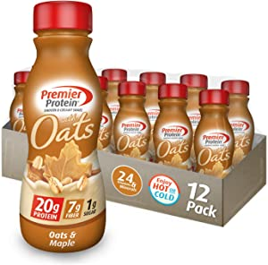 Premier Protein 20g Protein & Oats Shake, Oats & Maple, 11.5 Fl Oz Bottle, (12Count)
