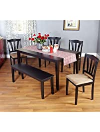Metropolitan Black 6 Piece Dining Set With Table, Bench And Four Chairs For  Dining