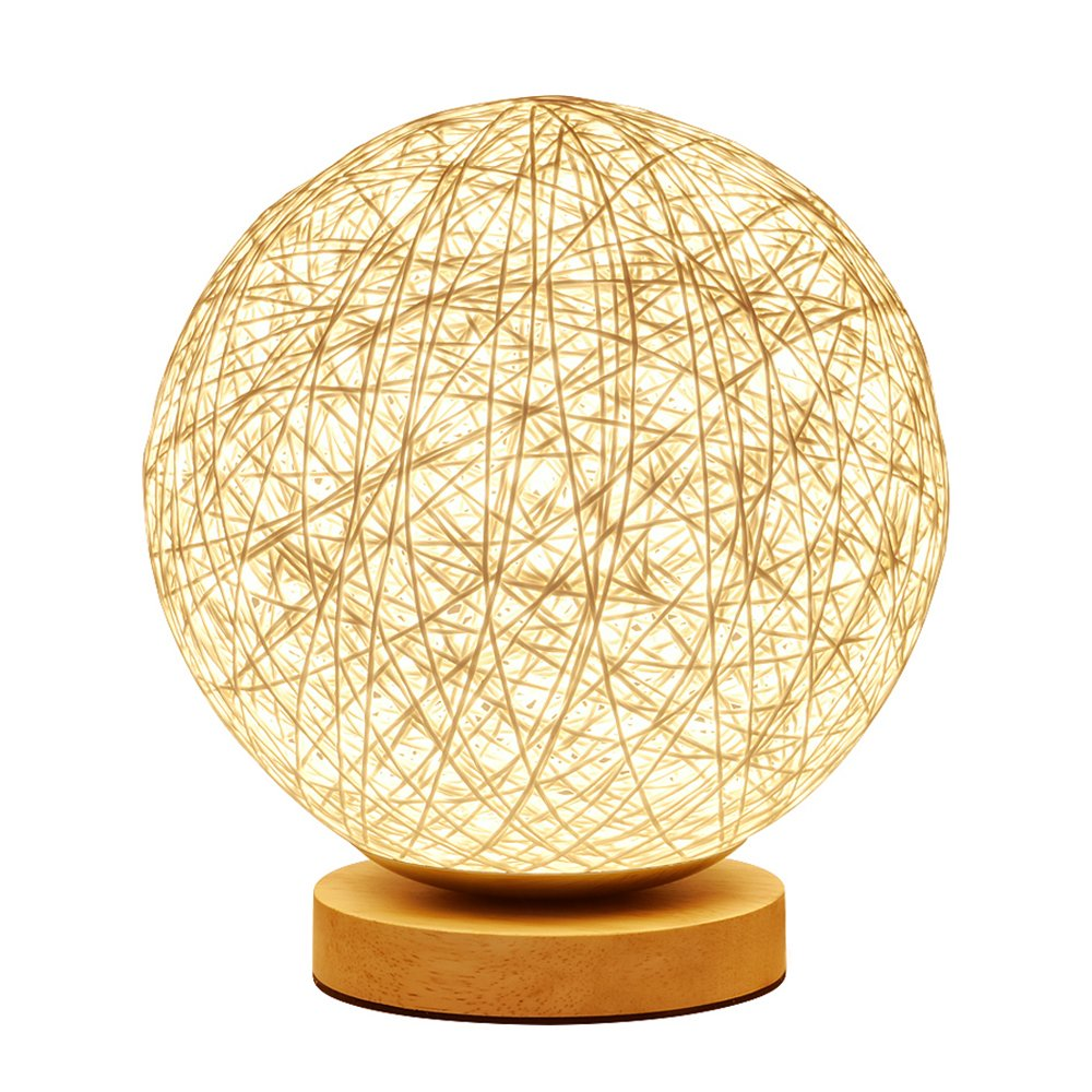 MaoJia Bedside Table Lamp, Rattan Ball Style Energy Saving Desk Bedside Lamp - Perfect LED Night Lamp for Living Room Bedroom Kitchen Home Dining Office and Bookcase Decoration (Warm White)