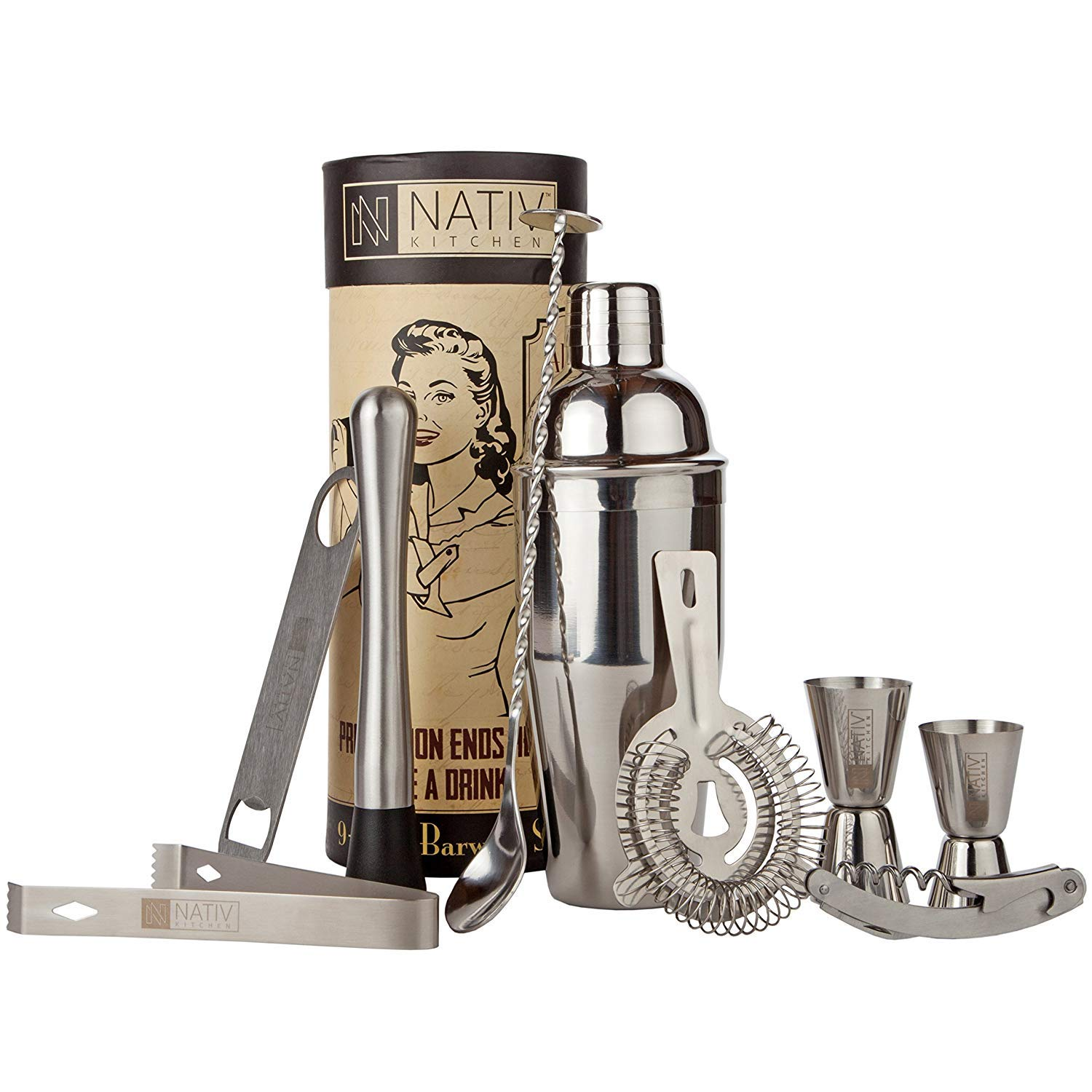 Bartender Kit with Cocktail Shaker - Stainless Steel Cocktail Shaker Set and Mixology Kit - Perfect Home Bar Accessories - 9 Piece Bar Set by Nativ Kitchen