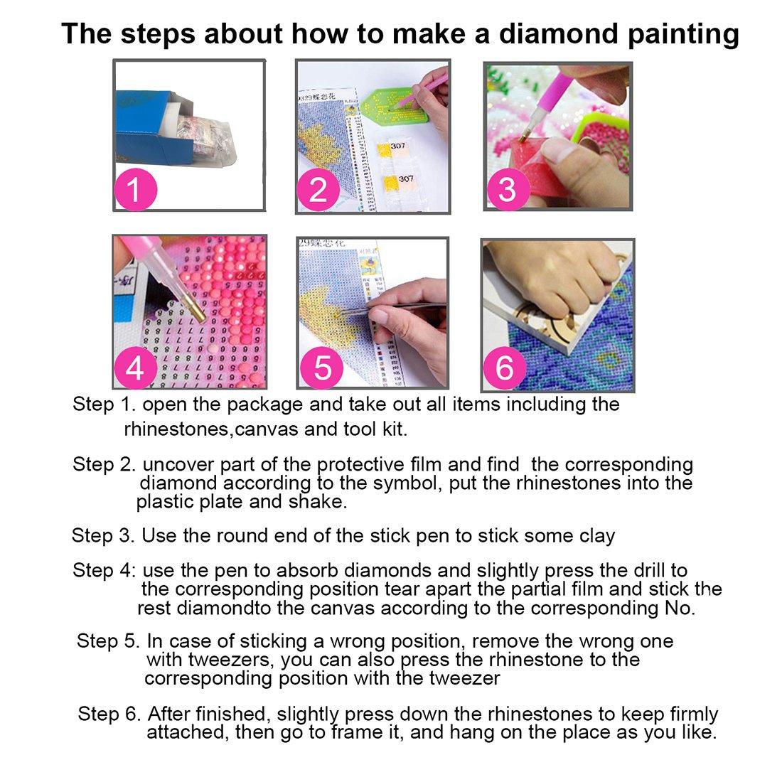 con strumenti set per la decorazione della casa Kit per pittura fai da te a mosaico con perline 5D accessori e scatola di conservazione