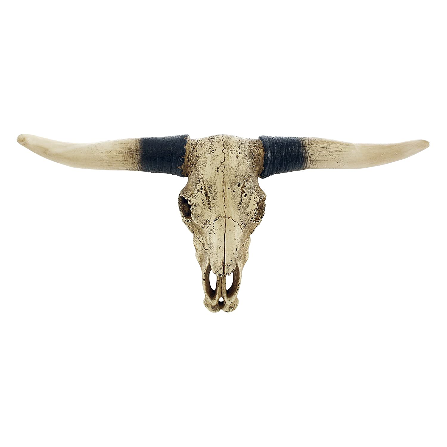 Pine Ridge Southwestern Bull Longhorn Skull Steer Bull Head Rustic Chic Wall Hanging Texas Decoration | Polyresin Steer Horns for Wall Sculpture | Replica Real Steer Bull Skull Head Aged Finish Brown