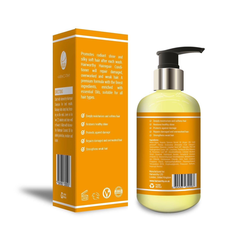 39709344cbe Amazon.com : Hairworthy Hairrepair Coconut Oil Conditioner - ROSEMARY,  JOJOBA, CASTOR & ARGAN OIL. INFUSED WITH KERATIN. : Beauty