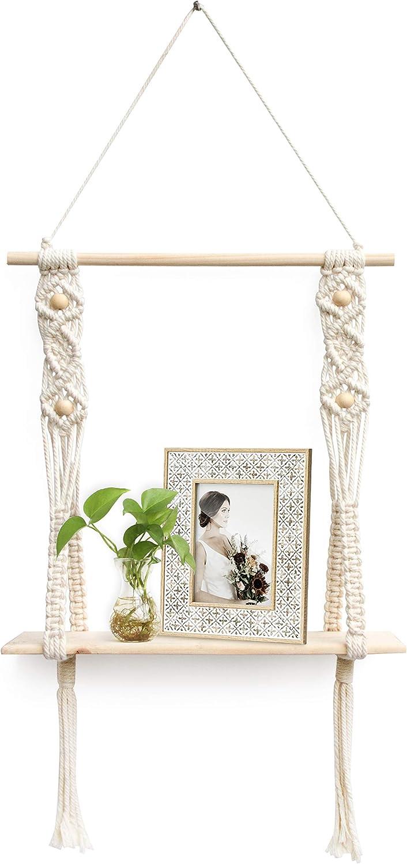Afuly Hanging Shelf, Macrame Wall Shelf, Handmade Boho Decor, Cute 1 Tier Cotton Rope Floating Shelf for Bathroom Bedroom Window