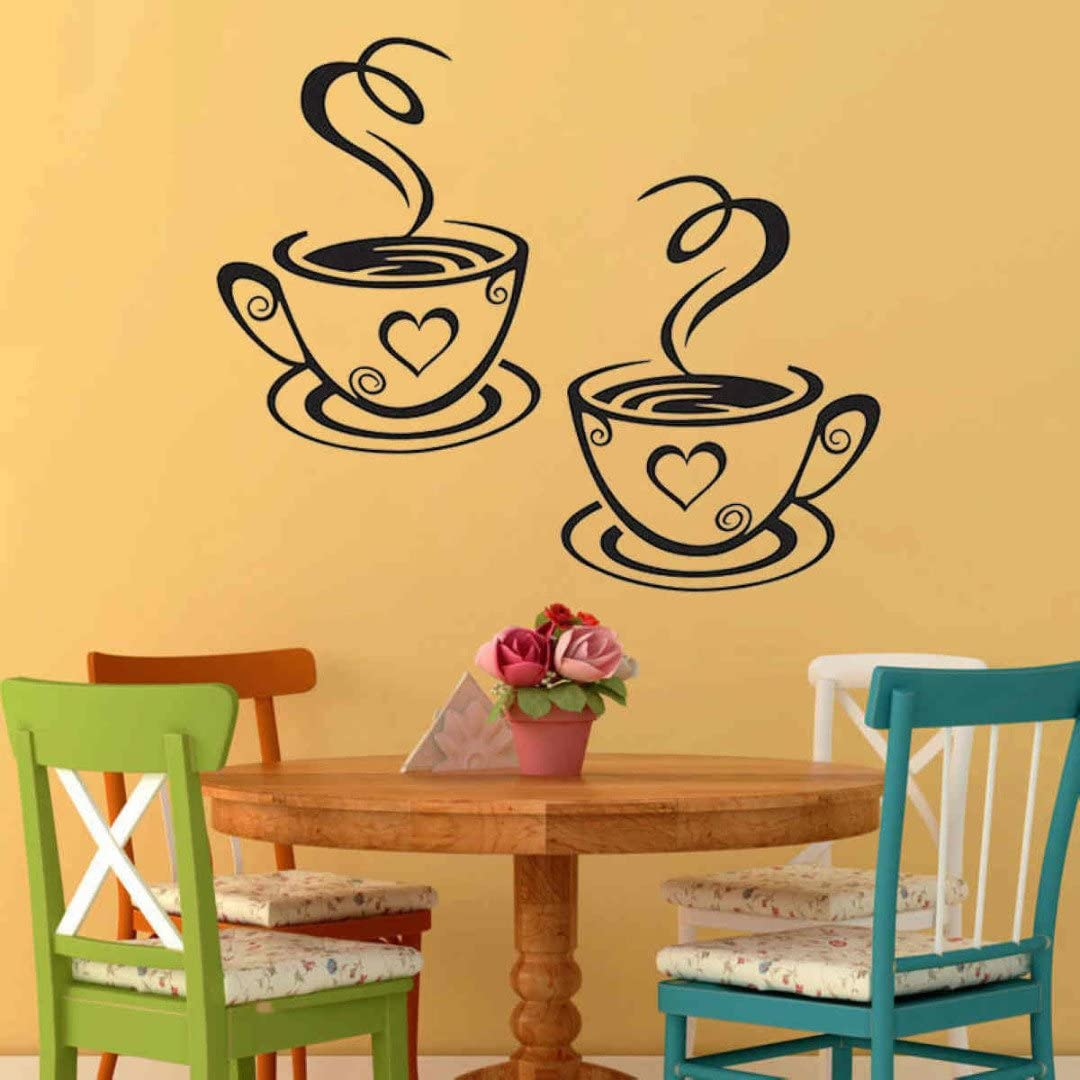 Tasse /à Caf/é Design Autocollants Mur Maison Stickers Cuisine Restaurant D/écor
