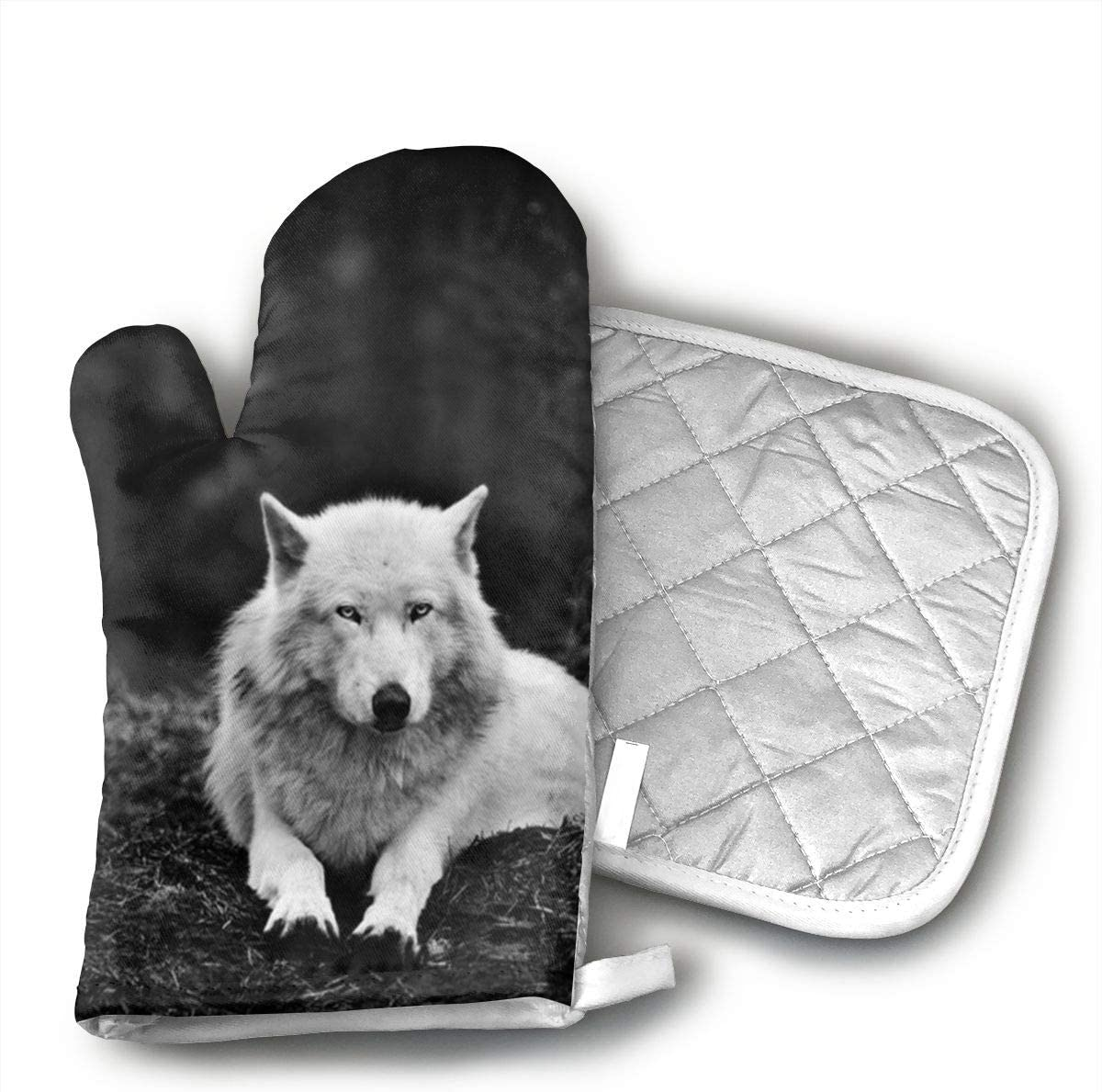 UYRHFS Wolf Wolves Black Oven Mitts and Pot Holder Kitchen Set with, Heat Resistant, Oven Gloves and Pot Holders 2pcs Set for BBQ Cooking Baking