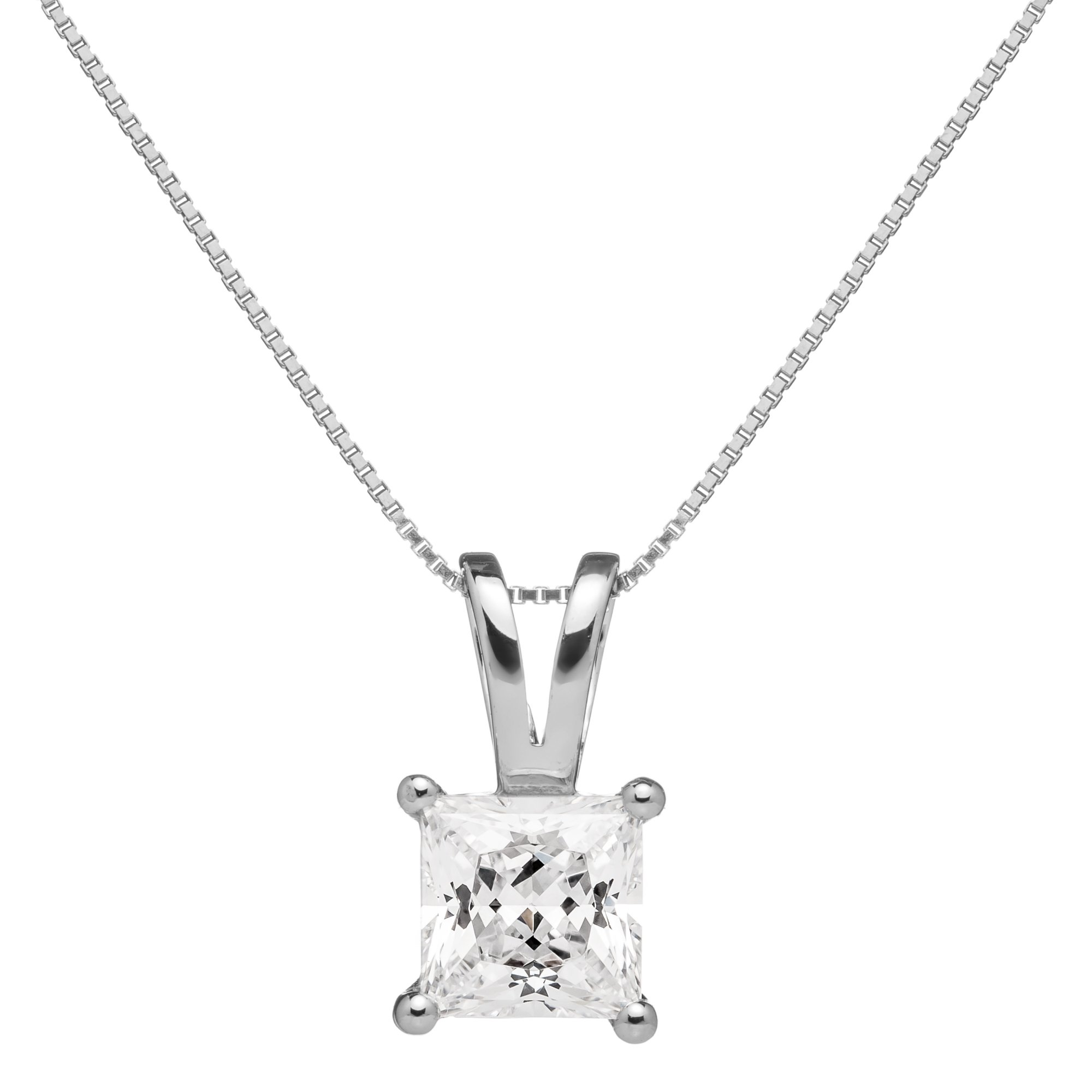 14K Solid White Gold Princess Cut Cubic Zirconia Solitaire Pendant Necklace (1 carat), 16 inch .50mm Box Link Chain, Gift Box