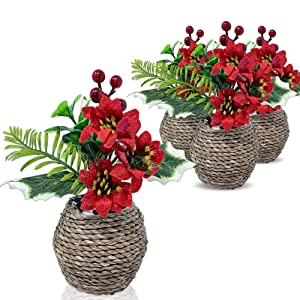 BANBERRY DESIGNS Poinsettia and Holly Berries Silk Flower Arrangements- Set of 4 Realistic Red Christmas Flowers in Decorative Planters- Holiday Home Decor