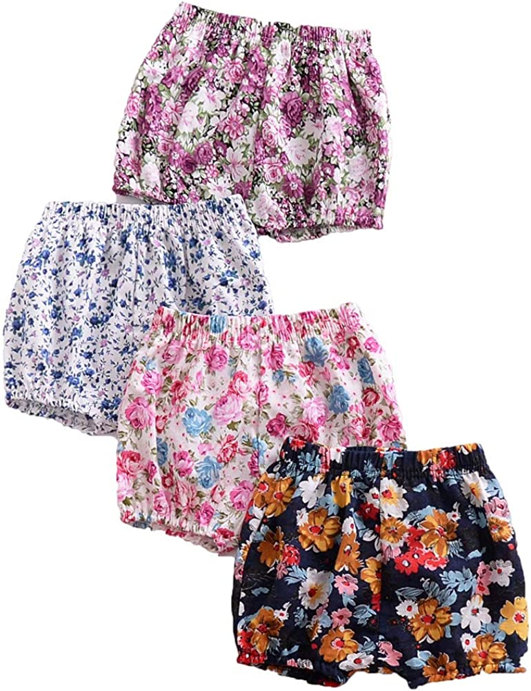 Weixinbuy Newborn Baby Girls Cotton Elastic Waist Bloomer Shorts Floral Flower Training Pants Bottoms