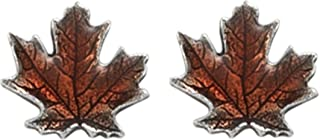 product image for DANFORTH - Maple Leaf/Autumn Mini Post Earrings - 1/2 Inch - Made in the USA - Surgical Steel Post