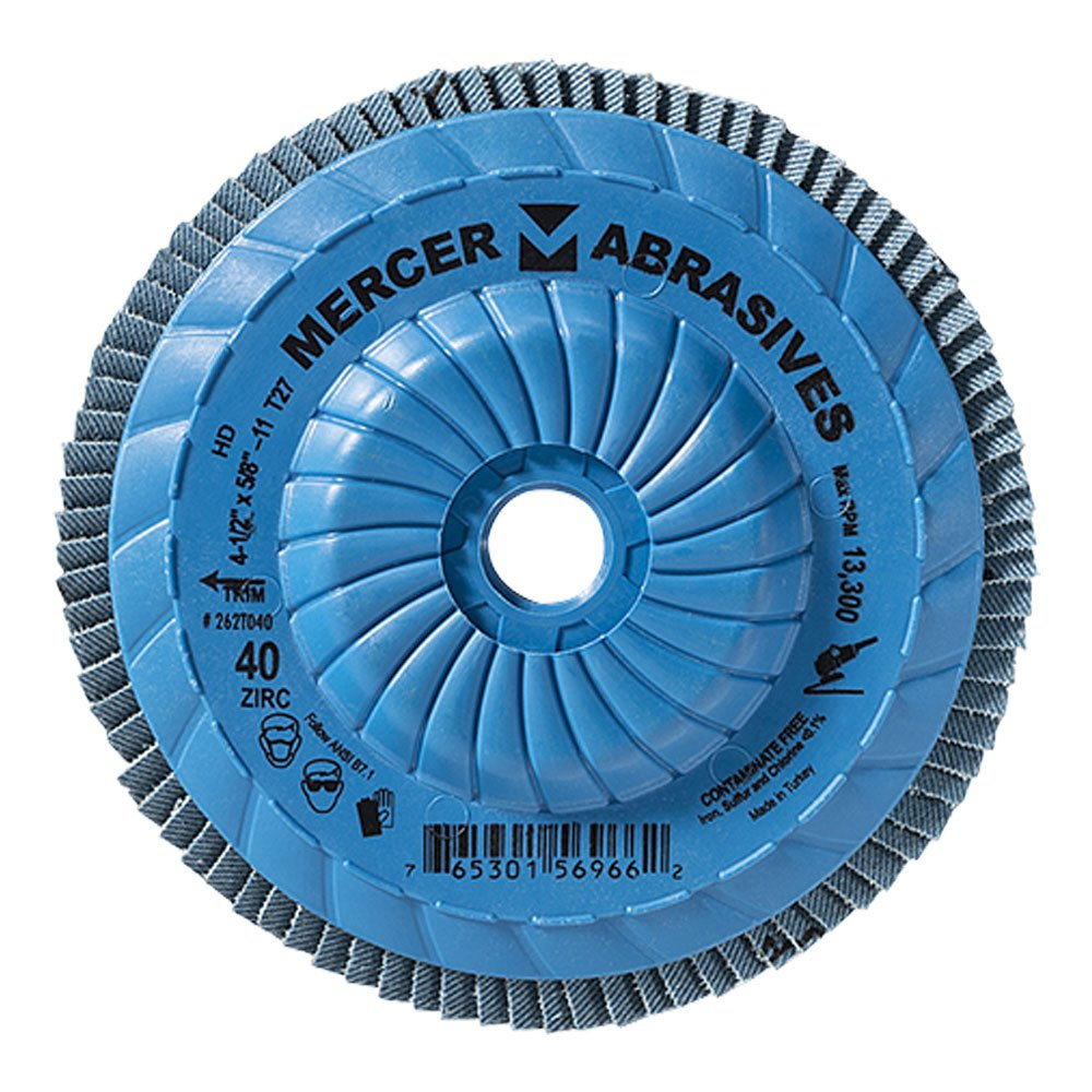 Mercer Industries 262T040 High Density Type 27, 4-1/2''x 5/8'' -11 Grit 40 Zirconia Flap Disc Trimmable (10 Pack)