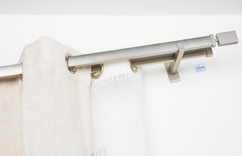Perfil de 31x12 mm InCasa Barra Rectangular para Cortina en Acero sat/én Completo 140 cm de Longitud
