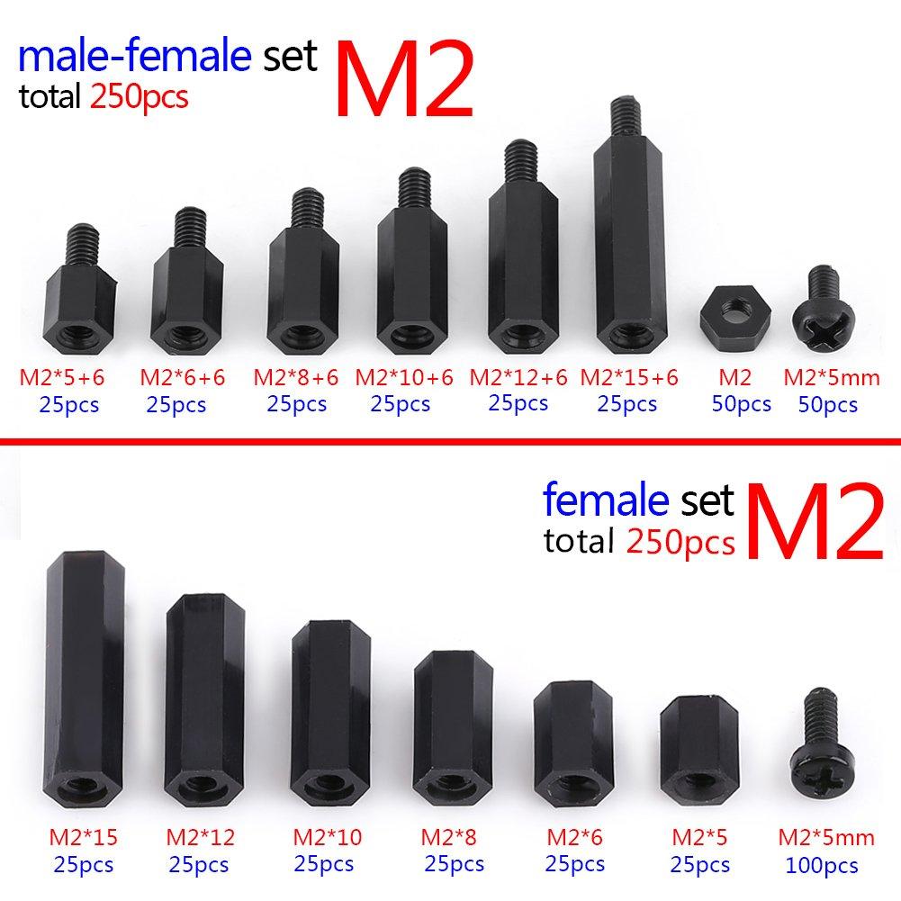 250 St/ücke Nylon M2 M3 Male-Female Hex Spalte Standoff Spacer Schraube Mutter Sortiment Kit Platine Reparatur Zubeh/ör mit Aufbewahrungsbox M2单通-C款
