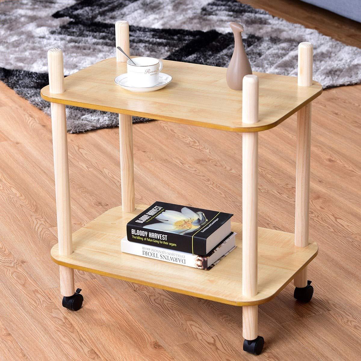 Amazon.com: 2 Tier Kitchen Shelf Wood Rolling Wheel Island ...