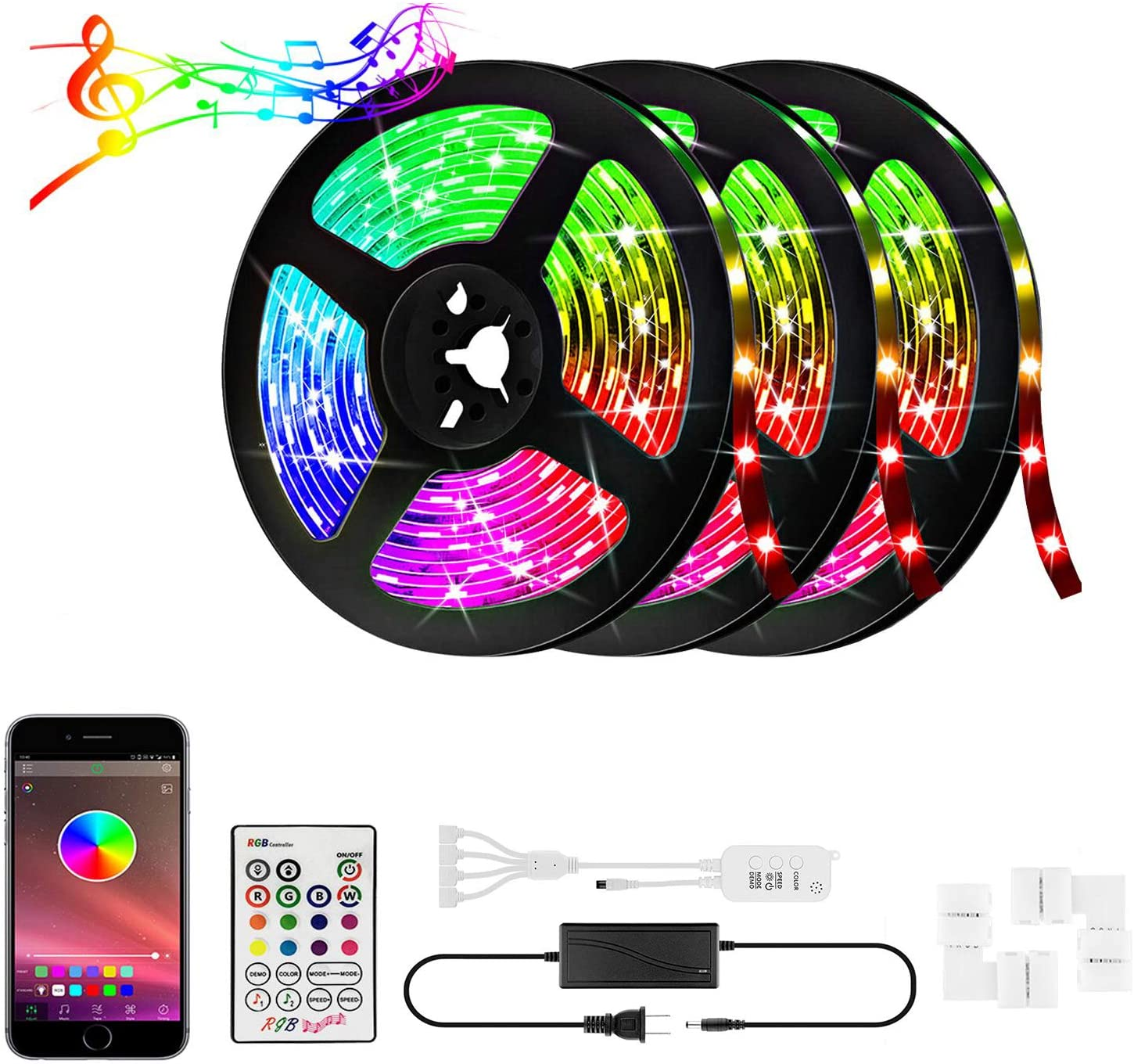 50ft RGB LED Strip Lights Kit, 15M 600 LEDs 5050 RGB LED Light Strip, LED Tape Lights with Remote APP Control Sync to Music, Bluetooth Controller, Remote LED Lights for Bedroom Home Party(3x16.4FT)