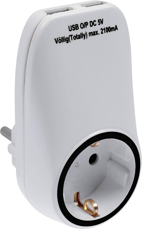 IP20, protecci/ón Infantil integrada, Adaptador de Enchufe, Ranura Adicional Adaptador de Carga con 2 Puertos USB y Ranura Schuko Color Blanco Meister 7421260