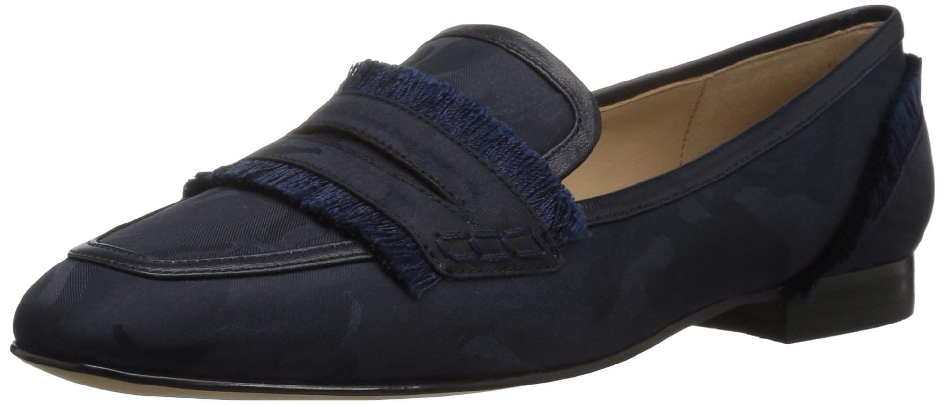 The Fix Women's Daphne Satin Fringe Loafer Flat, Navy Camo, 10 B US by The Fix
