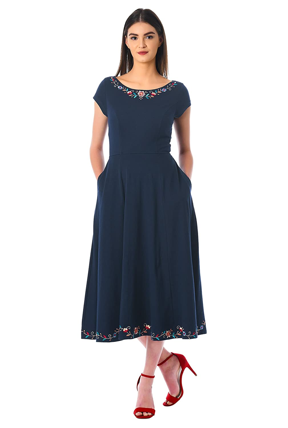 1940s Style Dresses | 40s Dress, Swing Dress eShakti Womens Floral Embroidery Trim Cotton Knit Dress $69.95 AT vintagedancer.com