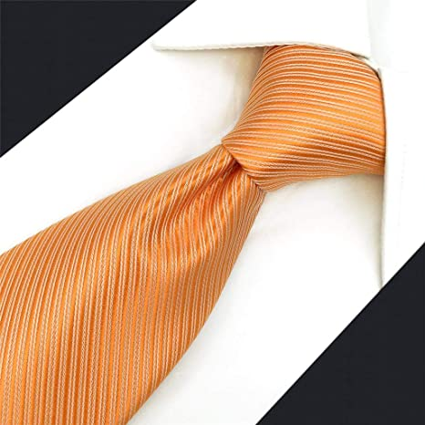 S/&W SHLAX/&WING Color S/ólido Naranja Corbatas Para Hombre Seda Extra Largo Party Neck