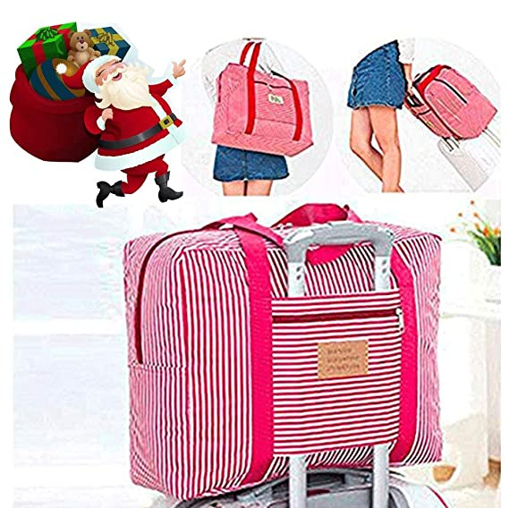 b4b432a08c08 Travel Foldable Waterproof Duffel Bag -Women and Men Light weight Carry  Luggage Tote Clothes Storage Large Capacity Carry-On Duffle Organiser,Girl  red ...