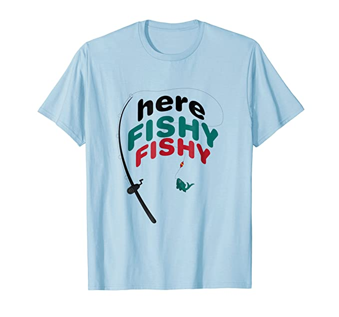 382e7433 Mens Funny Here Fishy Fishy Fishing Shirt - Father's Day Gift 2XL Baby Blue