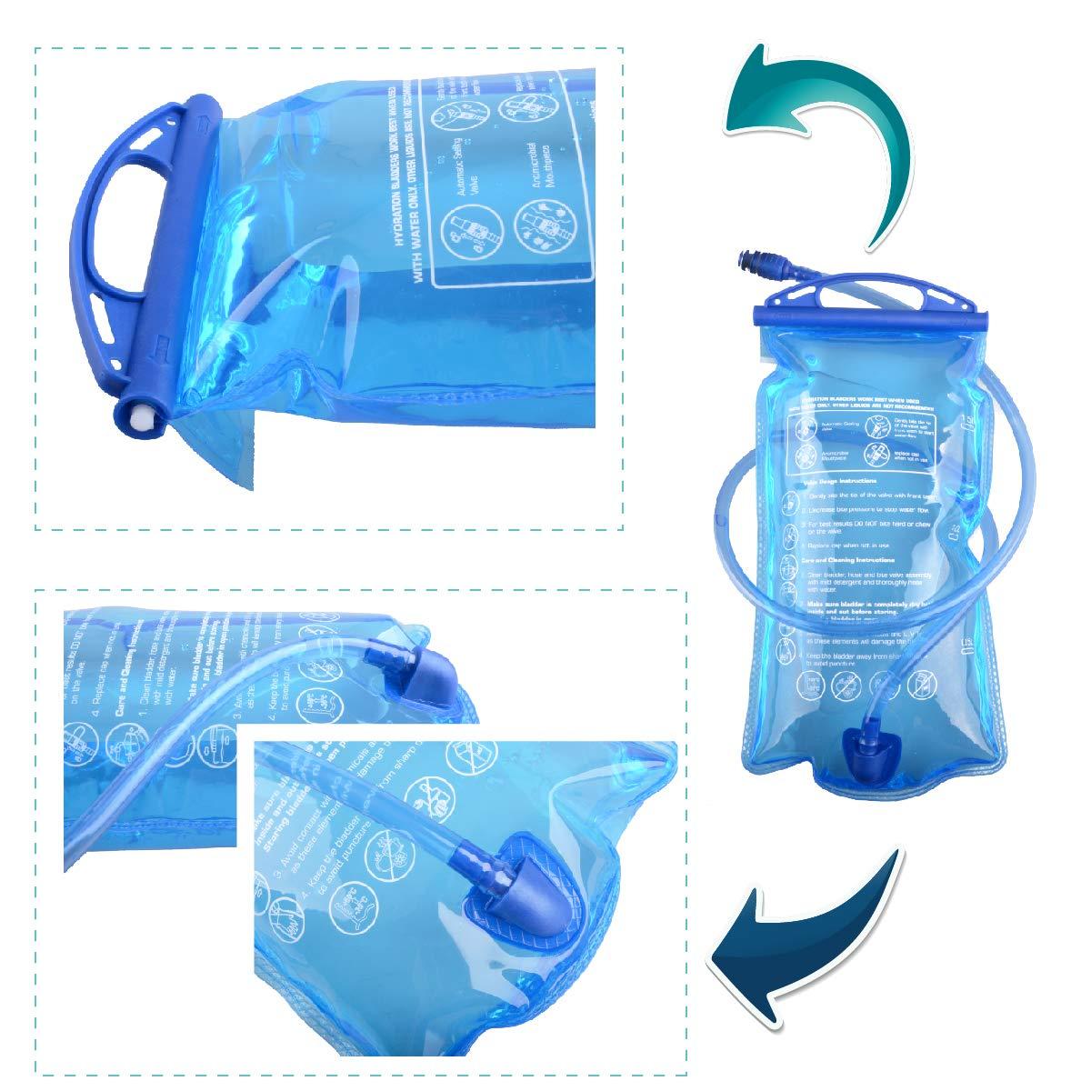 TRIWONDER TPU Bolsa de Agua Soft Flask 1.5-2-3L Vejiga de Hidratación Deportivas sin BPA a Prueba de Fugas Ideal para Mochila de Hidratación para Correr ...
