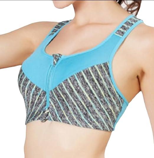 NestYu Women Zip-Front Absorb Sweat Stretch Cozy Breathable Activewear Bra  Blue S