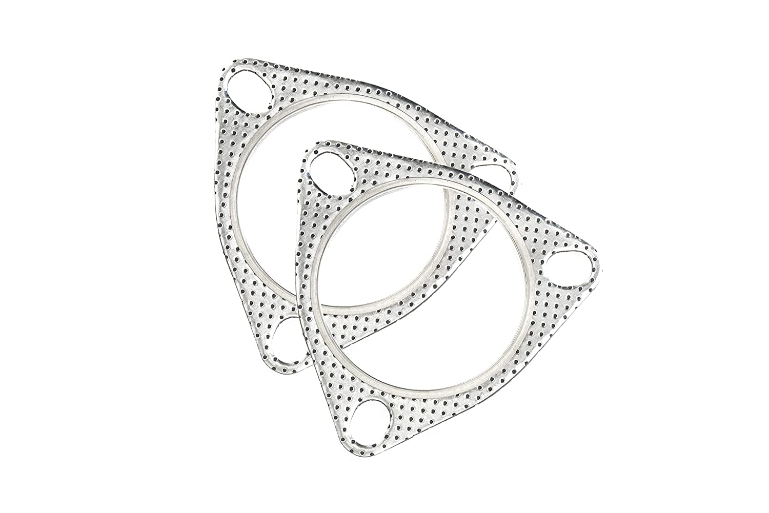 CarXX 3 Exhaust Gasket 77mm 3-Bolt Flange High Temperature Graphite for Headers Downpipe 2 Pack Catback Axleback