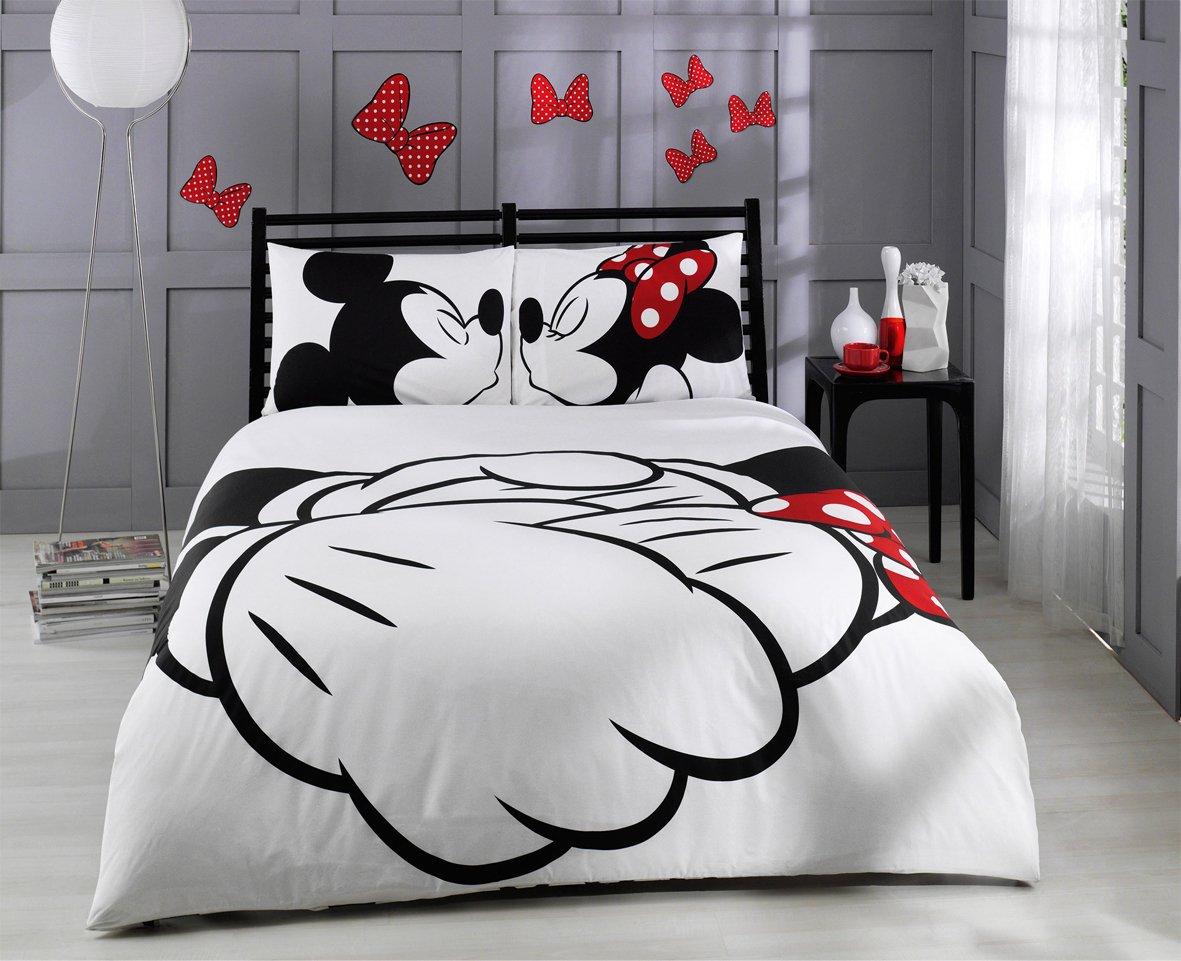 100% Cotton 6pcs Disney Minnie Loves Kisses Mickey Mouse Full Size Duvet Quilt Cover Set Heart Theme Bedding Linens