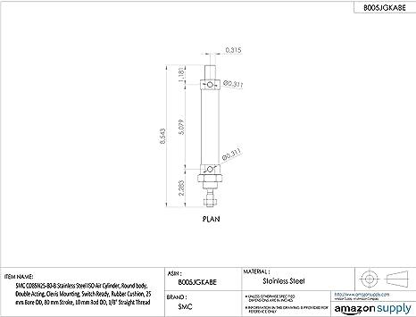doppio effetto ISO 6432 standard stelo SMC CD85/N25/ /20-b cilindro