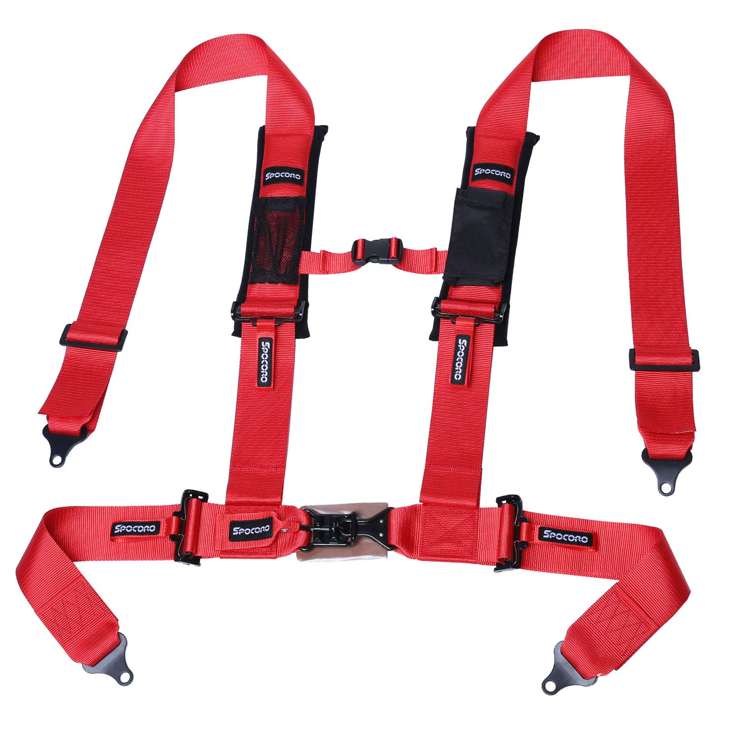 "Spocoro SH-0304RD-LL-1 Latch and Link 4 Point Harness with Soft Heavy Duty Shoulder Pads,3""Straps,Red (Pack of 1)"