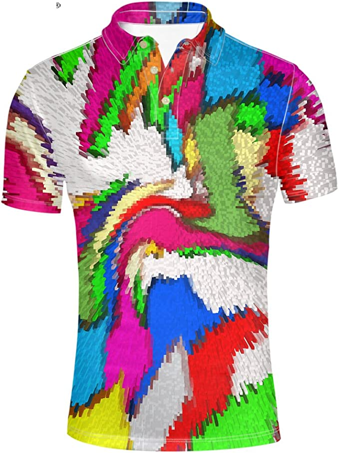 Pensura Colorful Mens Polos Shirt Summer Hawaiian Holiday Short Sleeve Shirt