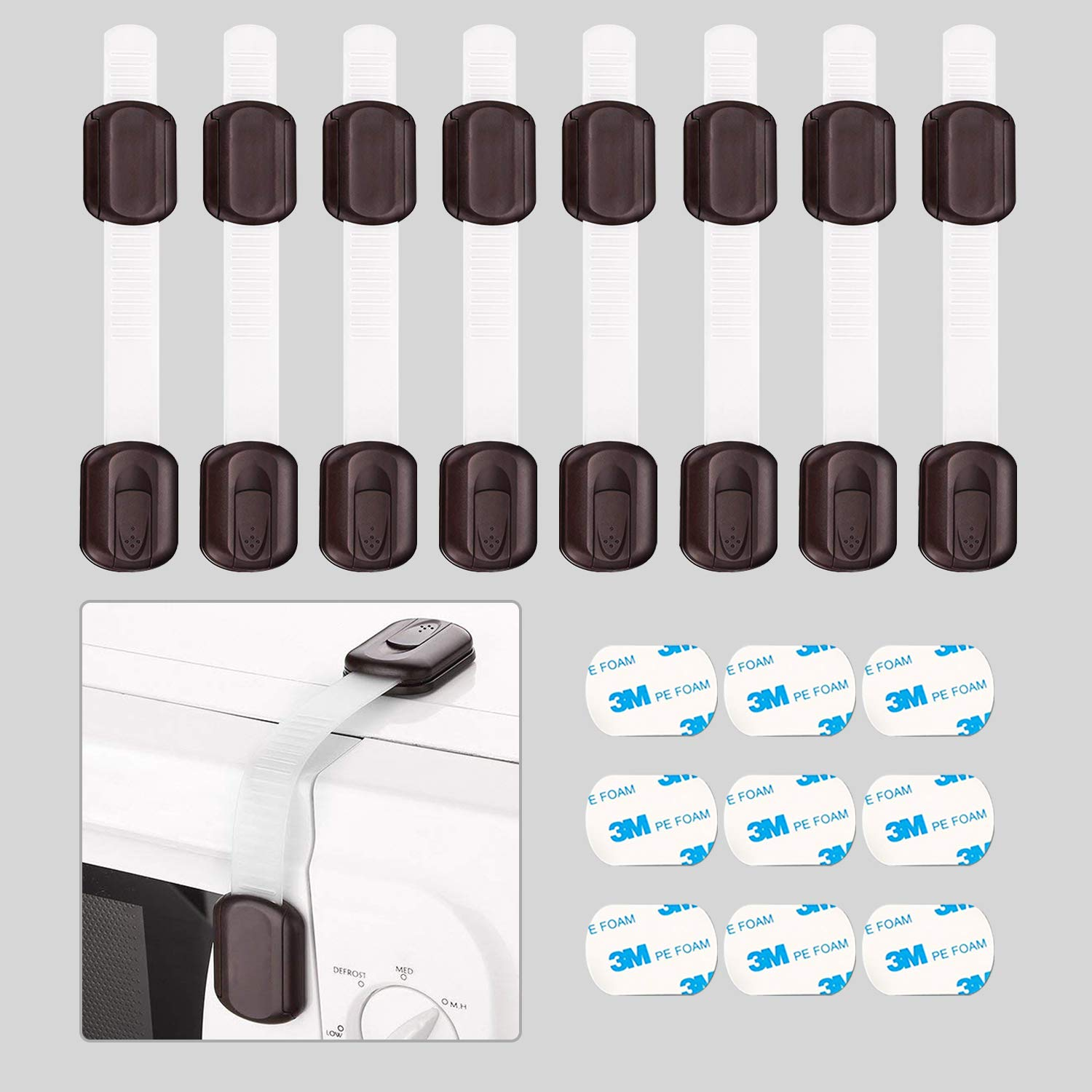Baby Safety Locks - Child Proof Adjustable Latches for Cupboard Doors and Drawers Dresser Doors Closet Toilet Seat Oven Refrigerator Appliances,8 Pack Brown,Free 9 Extra 3M Adhesive Pads Maveek