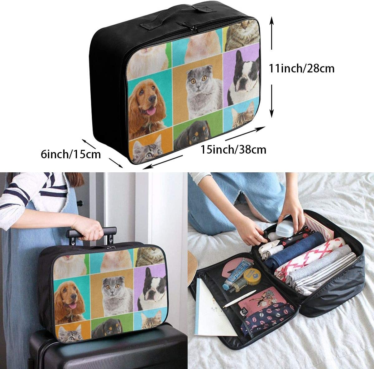 Travel Bags Cute Bulldog Pug Dog Cat Kitten Portable Foldable Great Trolley Handle Luggage Bag