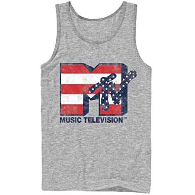 e4a34377a Fifth Sun MTV Men's Stars and Stripes Logo Athletic Heather Tank Top