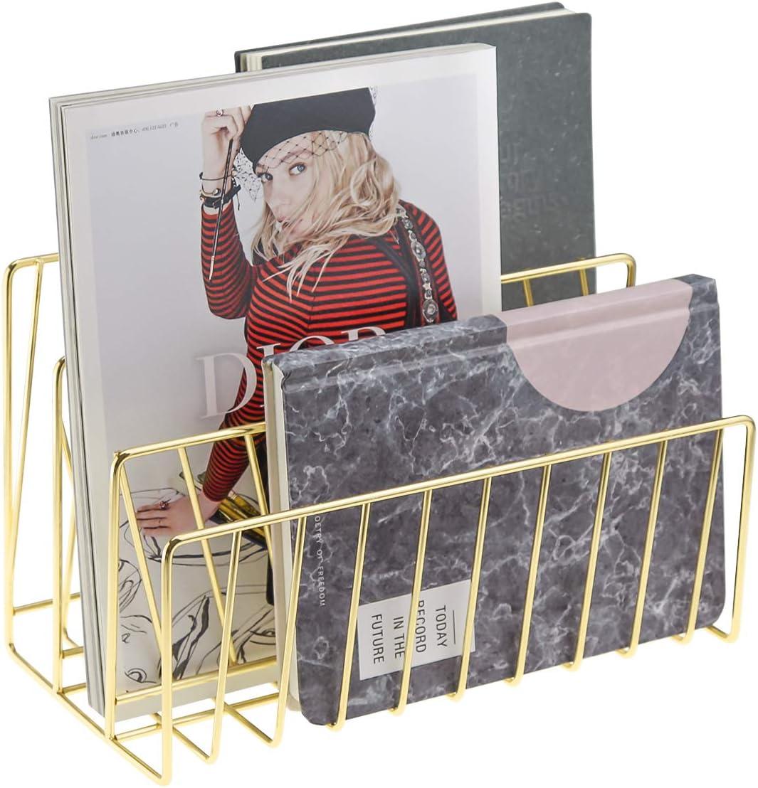 Postcards,Rose Gold Books Letters Senmubery Mail Organizer,3 Slot Desktop File Sorter Magazine Rack Book Record Holder for Mails