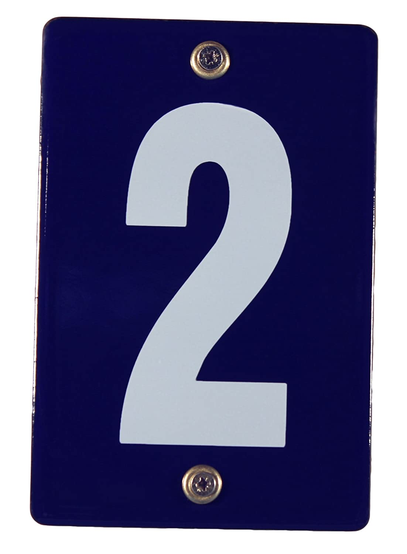 Hausnummernschild '2' Emaile Schild 12x8 cm wetterfest Hausnummer Emailleschild Emaiile Buddelbini
