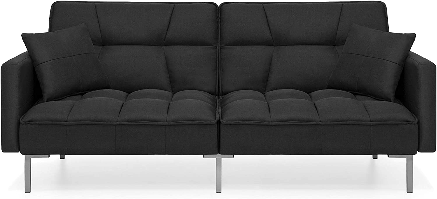 Best Choice Products Convertible Linen Fabric Tufted Split-Back Plush Futon Sofa Furniture for Living Room, Apartment, Bonus Room, Overnight Guests w/ 2 Pillows, Wood Frame, Metal Legs - Black