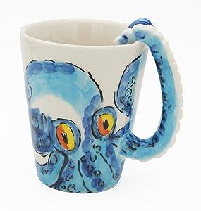 3D Coffee Mug, Handmade Hand Painted Creative Art Mug Ceramic Milk Cups Travel Mug Ocean Octopus Squid Style with Octopus Tentacles Beard Handle