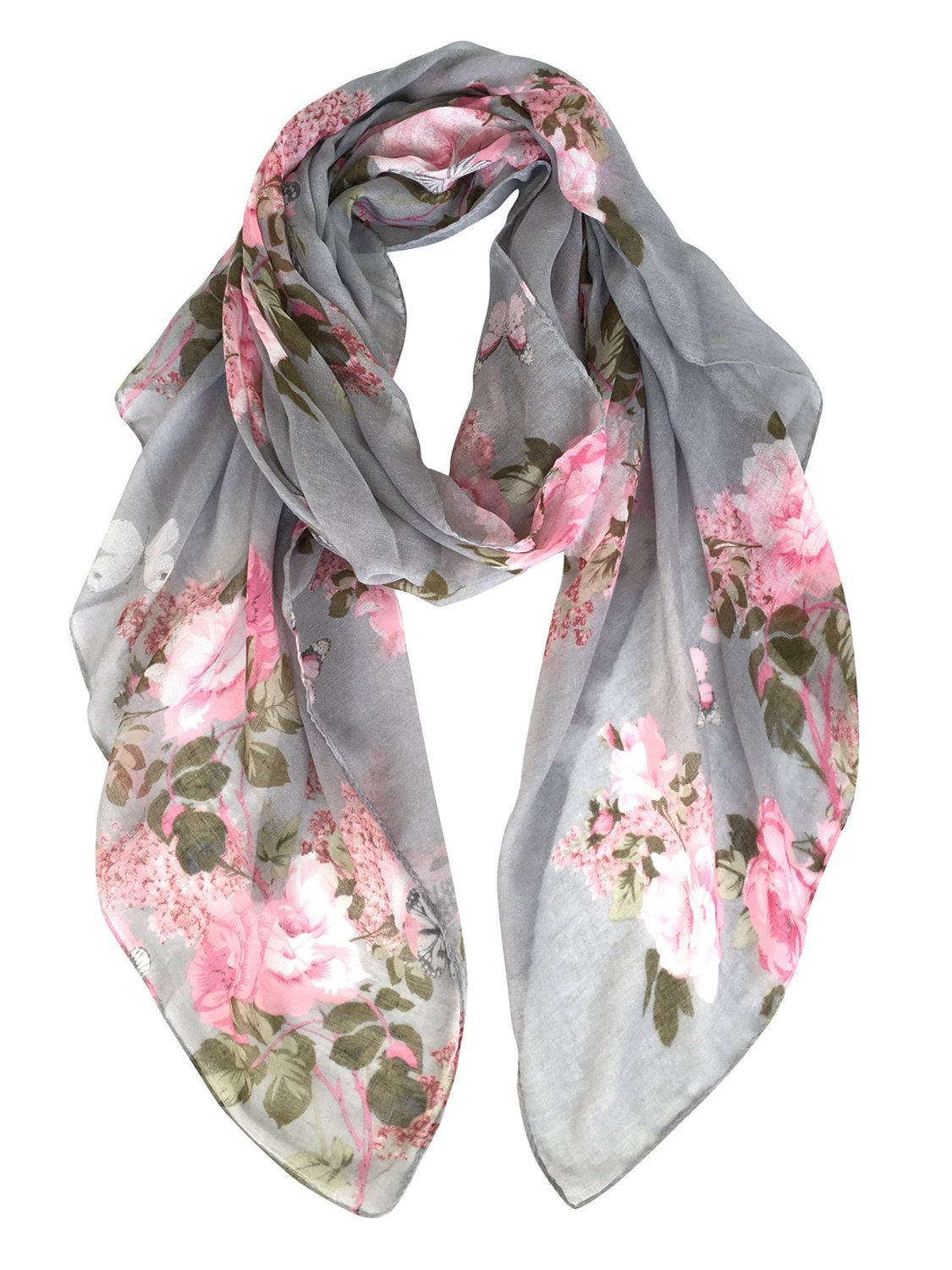 GERINLY Lightweight Shawl Scarf: Peony Print Beach Wrap For Hawaiian Vacation (Grey) by GERINLY (Image #1)